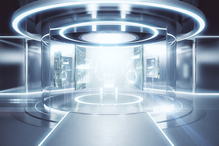 Photo pour Abstract glowing silver teleportation station with business panels. Future concept. 3D Rendering - image libre de droit