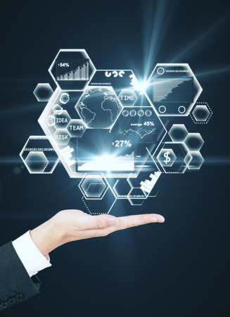 Photo pour Side view of businessman's hand holding abstract business hologram. Fintech concept. 3D Rendering - image libre de droit