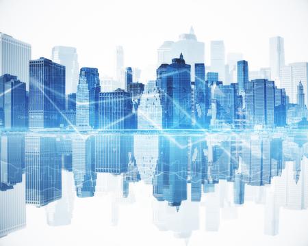 Foto de Abstract blue city with business chart arrows. Financial growth concept - Imagen libre de derechos