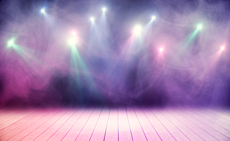 Foto per Wooden stage with pink smoke and spot lights. Performance concept - Immagine Royalty Free