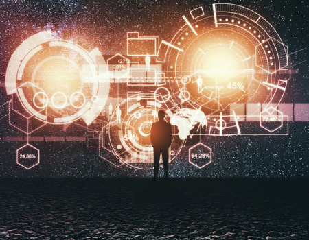 Photo pour Back view of young businessman looking at starry sky with abstract business hologram. Technology and innovation concept. Double exposure - image libre de droit