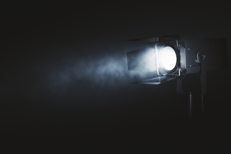 Photo for Spotlight on dark smoky background. Professional lighting equipment concept. 3D Rendering - Royalty Free Image