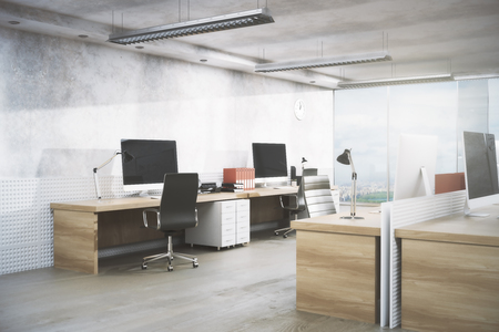 Foto de Bright office room interior with workplace, equipment, city view and daylight. Real estate, workspace, business concept. 3D Rendering - Imagen libre de derechos