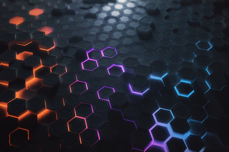 Foto de Futuristic glowing colorful bright hexagonal or honeycomb wallpaper. Technology, future and innovation concept. 3D Rendering - Imagen libre de derechos