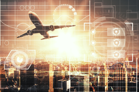 Foto de Airplane on city background with digital business chart interface and sunlight. Technology concept. Double exposure - Imagen libre de derechos