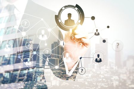 Photo for Businessman pointing at abstract digital hr network on city background. Recruitment concept. Double exposure - Royalty Free Image