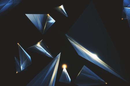 Photo pour Creative low poly polygonal tech backdrop. 3D Rendering  - image libre de droit