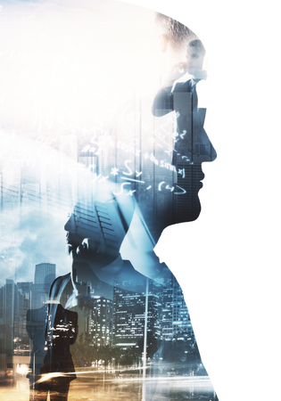 Foto per Side portrait of businessman on abstract city background with mathematical formulas. Education and think concept. Double exposure  - Immagine Royalty Free