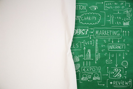 Foto de Abstract paper background with business sketch and copy space on chalkboard. Education and strategy concept - Imagen libre de derechos