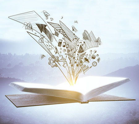 Photo for Open book with business sketch on blurry misty background. Education and success concept  - Royalty Free Image