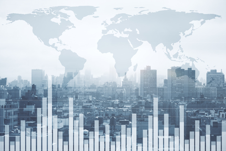 Foto de Stock, global business and finance concept. Creative forex chart and map on city background. Double exposure  - Imagen libre de derechos