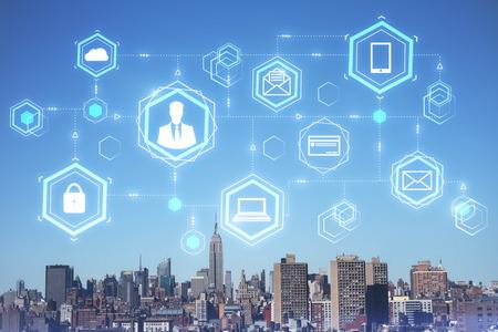 Photo pour Digital business interface on blue sky city background. Future and blockchain concept. Double exposure - image libre de droit