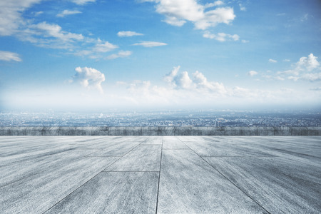 Photo for Creative concrete ground, beautiful city view and sky wallpaper - Royalty Free Image