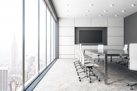 Photo pour Modern concrete meeting room interior with empty billboard and panoramic city view with sunlight. Mock up, 3D Rendering - image libre de droit