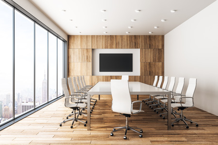 Photo pour Modern wooden meeting room interior with empty banner and panoramic city view with sunlight. Mock up, 3D Rendering - image libre de droit