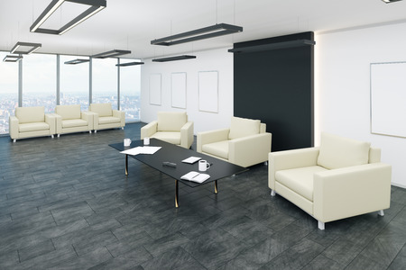 Photo pour Modern office waiting area interior with panoramic city view, comfortable armchairs and coffee tables. 3D Rendering - image libre de droit