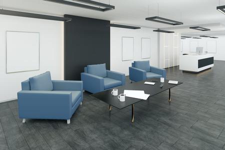Foto de Creative office waiting area interior with comfortable armchairs and coffee tables. 3D Rendering - Imagen libre de derechos