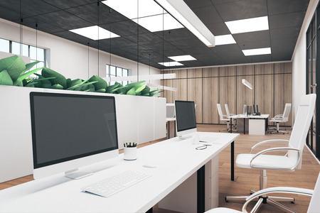 Photo pour Contemporary office interior with empty computer and coffee cup on desk. Mock up, 3D Rendering - image libre de droit