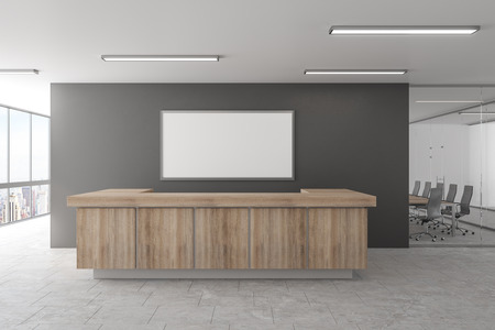 Photo for Modern office lobby with reception desk and empty frame. Mock up, 3D Rendering - Royalty Free Image