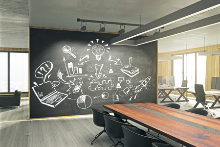 Photo pour Modern meeting room with business sketch on whiteboard. Seminar and finance concept. 3D Rendering - image libre de droit