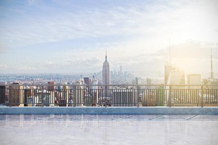 Foto de Modern rooftop with New York city view. Lifestyle concept - Imagen libre de derechos
