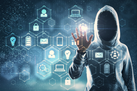 Photo pour Hacker hand with glowing business interface on blurry background. Network and malware concept. Double exposure - image libre de droit