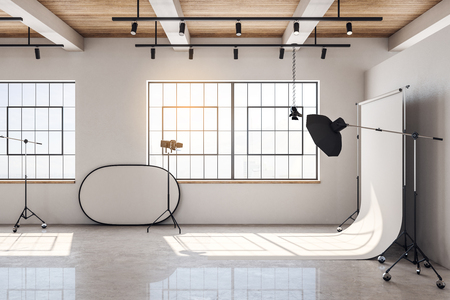 Photo for Contemporary bright photo studio interior with daylight and professional equipment. 3D Rendering - Royalty Free Image