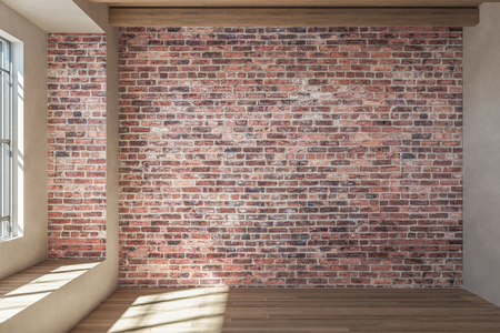 Photo pour Modern loft red brick interior with window and sunlight. 3D Rendering - image libre de droit