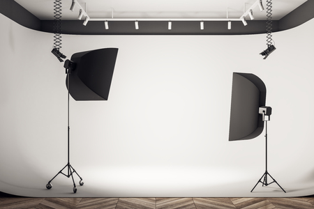 Photo for Clean photo studio interior with professional equipment and background. 3D Rendering - Royalty Free Image