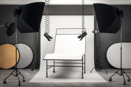 Photo for Contemporary photo studio interior with professional equipment and empty white background table. Mock up, 3D Rendering - Royalty Free Image