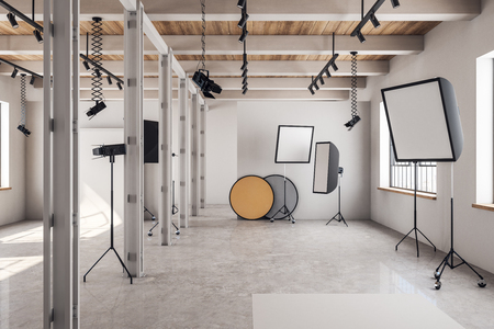 Photo for Modern loft photo studio interior with professional equipment and background. 3D Rendering - Royalty Free Image