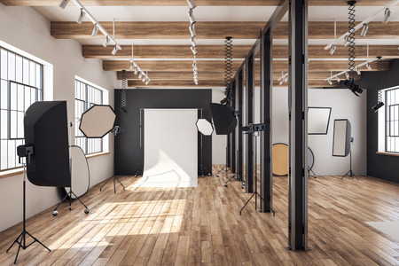 Photo for Contemporary loft photo studio interior with professional equipment and background. 3D Rendering - Royalty Free Image