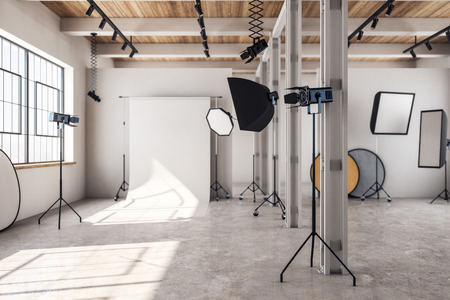 Photo for Concrete loft photo studio interior with professional equipment and background. 3D Rendering - Royalty Free Image