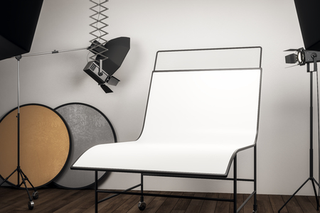 Photo for Clean photo studio interior with professional equipment and empty white background table. Mock up, 3D Rendering - Royalty Free Image