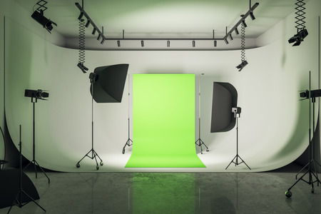 Photo for Modern loft photo studio interior with professional equipment and bright green background. 3D Rendering - Royalty Free Image