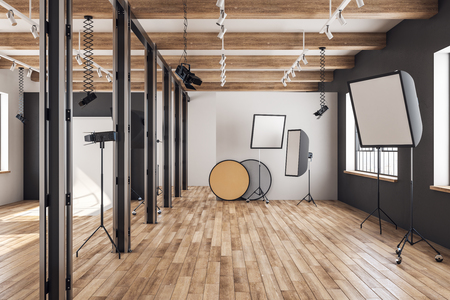 Photo for Bright loft photo studio interior with professional equipment and background. 3D Rendering - Royalty Free Image