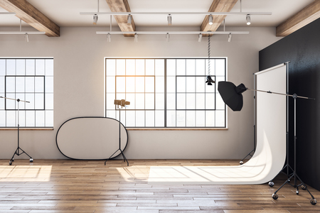 Photo for Wooden loft photo studio interior with professional equipment and background. 3D Rendering - Royalty Free Image