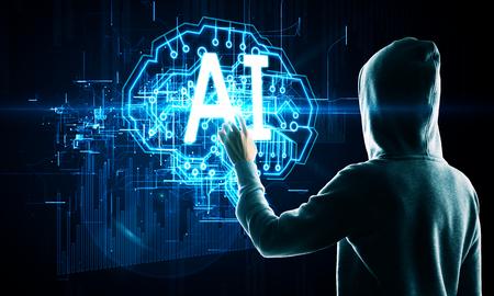 Foto de Hacker using digital business AI brain interface hologram on dark background. Malware and phishing concept - Imagen libre de derechos