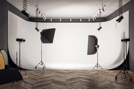Photo for Contemporary photo studio interior with professional equipment and background. 3D Rendering - Royalty Free Image