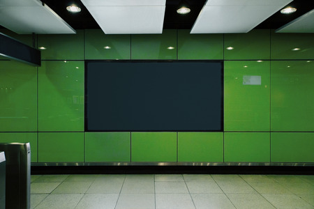 Photo for Front view of empty black poster in green underground subway station. Commercial and ad concept. Mock up - Royalty Free Image