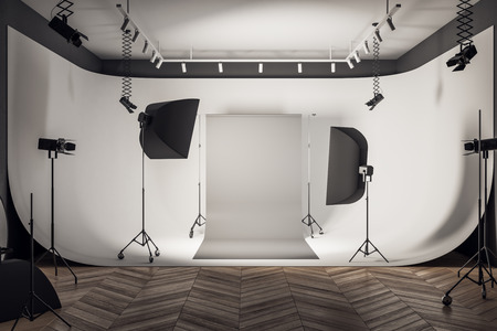 Photo for Contemporary loft photo studio interior with professional equipment and gray background. 3D Rendering - Royalty Free Image