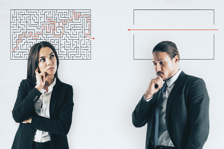 Photo for Businessman and woman with maze sketch on white background. Challenge and solution concept - Royalty Free Image