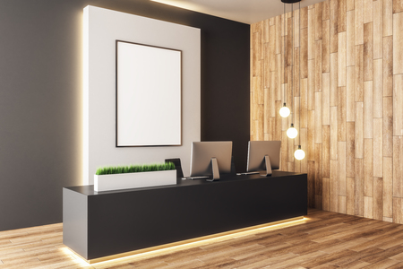 Photo pour Modern wooden office lobby interior with empty banner and equiment on reception desk. Mock up, 3D Rendering - image libre de droit