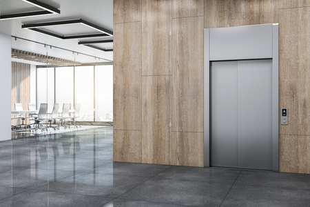 Photo pour Modern office lobby with elevator, wooden wall and panoramic city view. 3D Rendering - image libre de droit