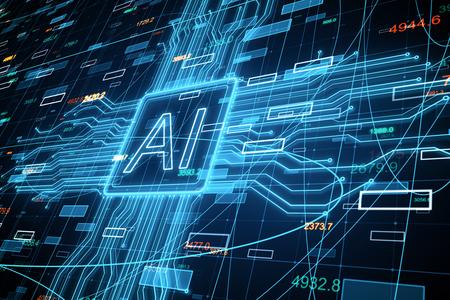 Foto de Creative AI background with forex chart. Artificial intelligence and invest concept. 3D Rendering - Imagen libre de derechos