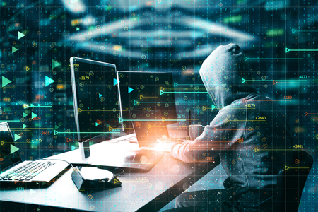 Photo pour Trade and hack concept. Hacker using laptop computer with abstract forex chart hologram on blurry background. Double exposure - image libre de droit
