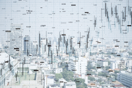 Photo pour FInance and trade concept. Creative white city backdrop with forex chart. Double exposure - image libre de droit