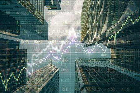 Foto de Forex chart on creative blurry downtown city background. Trade and sell concept. Double exposure - Imagen libre de derechos