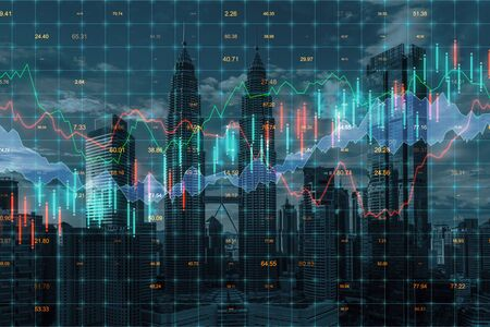 Photo pour Forex chart on creative blurry Kuala Lumpur city background. Trade and market concept. Multiexposure - image libre de droit