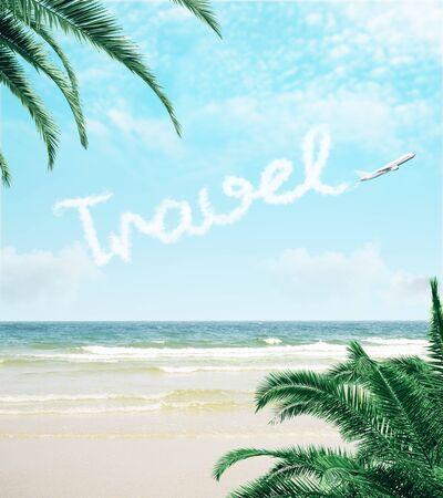 Foto de Beautiful beach wallpaper with airplane and text in sky. Summer and travel concept - Imagen libre de derechos